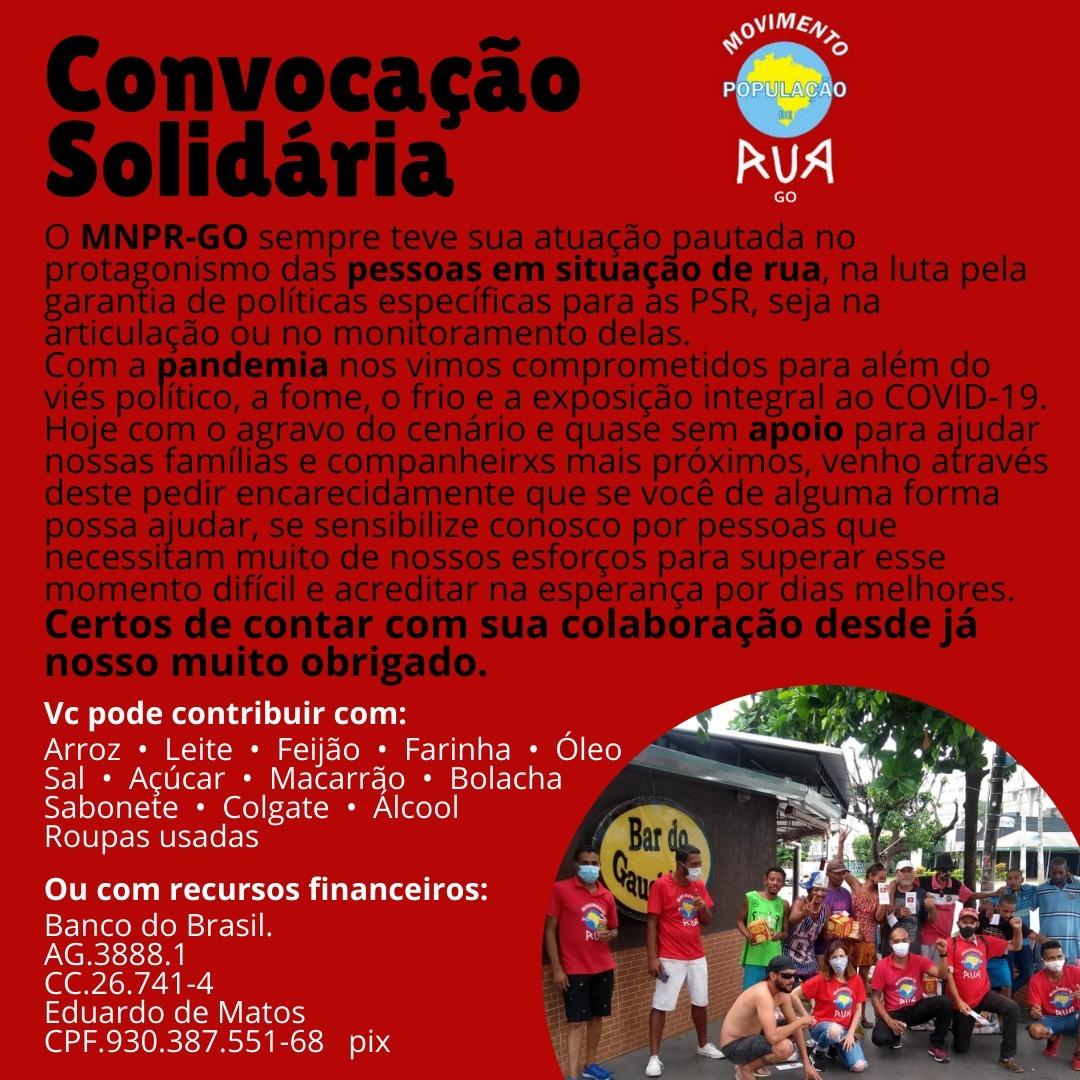 Flyer de divulgação da Convocação Solidária, falando sobre o MNPR-GO e pedindo contribuição com comida ou recursos financeiros