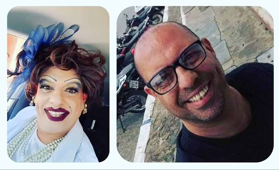 Uma colagem com duas fotos: à esquerda, Condessa Valária Vaz. À direita, Rômulo Vaz, ator por trás da drag.
